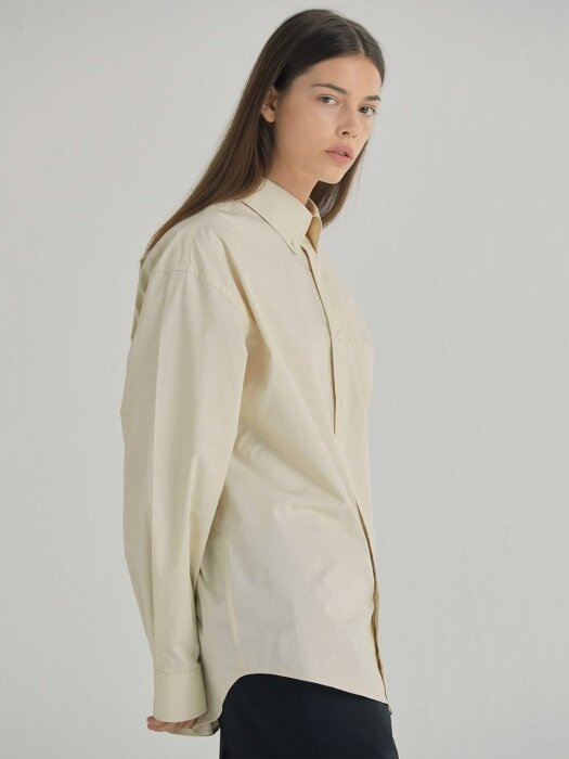 OVERSIZED BUTTON-DOWN SHIRT - BEIGE