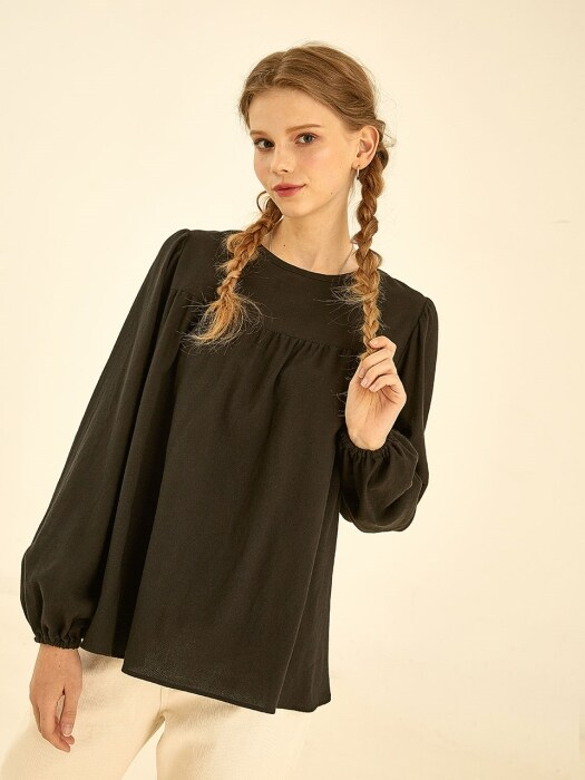Plain ballon blouse[black]