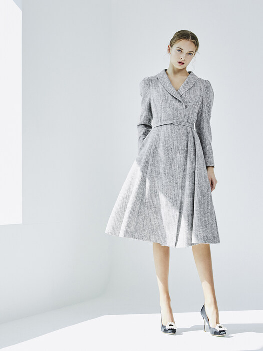 [EXCLUSIVE] ALEXANDRA Shawl collar jacket Dress (Deep Navy and White Tweed)