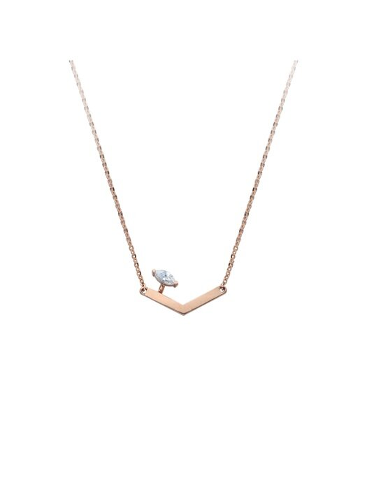 Parallel marquise point necklace (14k)