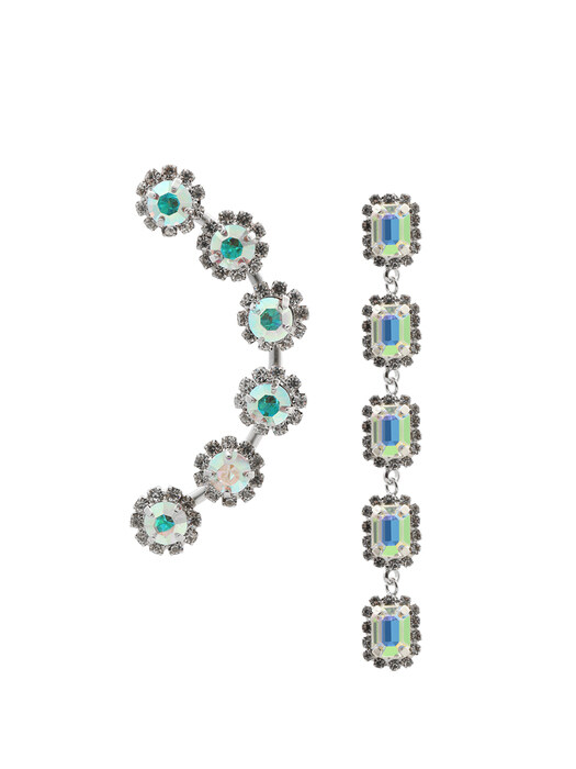 Unbalanced Multi Crystal `drop` Earrings