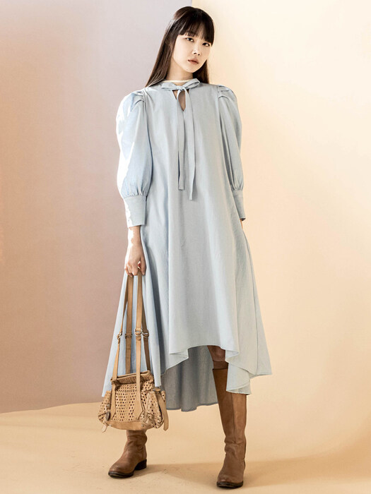 Puff Sleeve Between Denim Dress