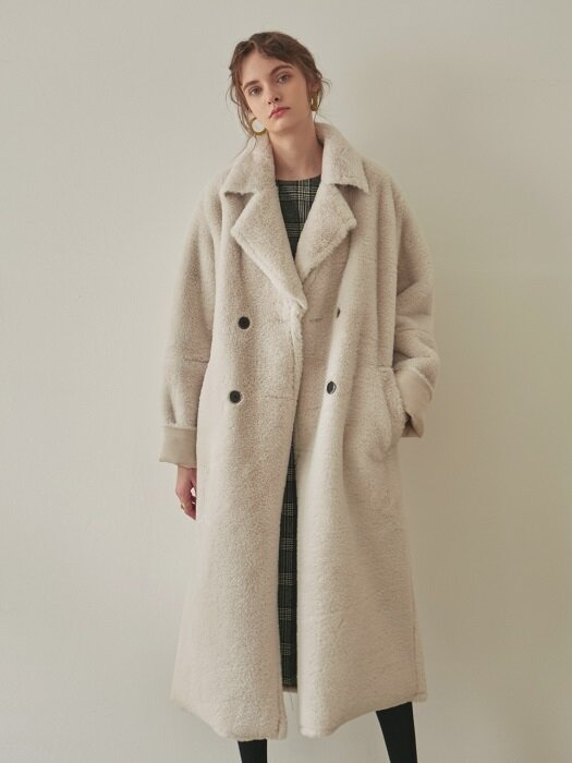 DOUBLE FACED LONG MUSTANG COAT_IVORY