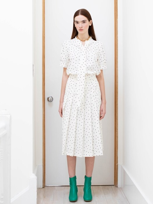NAPOLI short sleeve tie blouse (White polka dot)