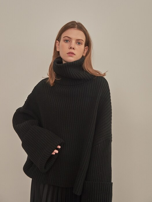 OVERSIZE LAMBSWOOL KNIT [BLACK]
