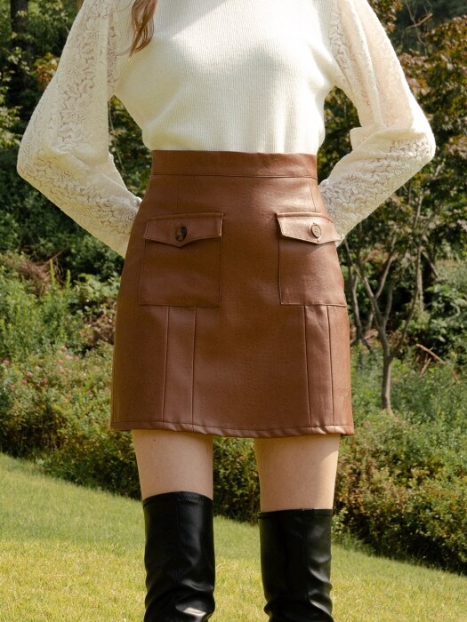 monts 992 out pocket leather skirt (brown)