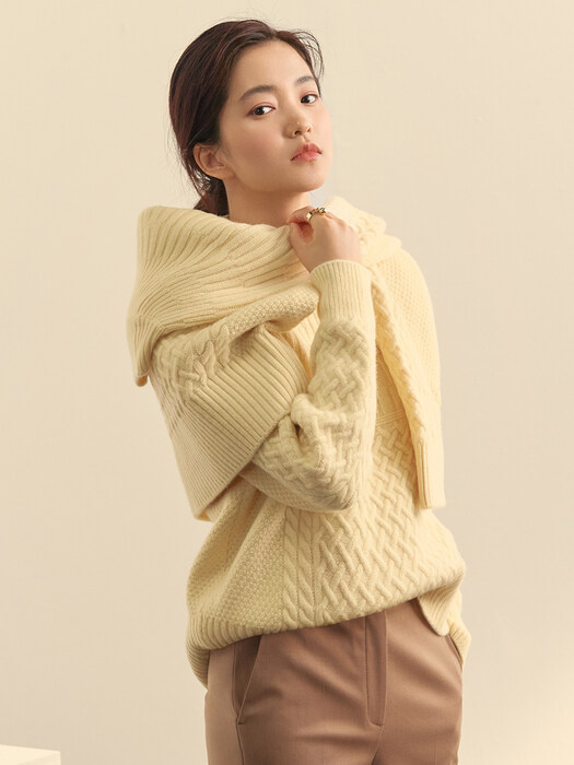 [Day-Wool] Airy Wool Cable Pullover_2color