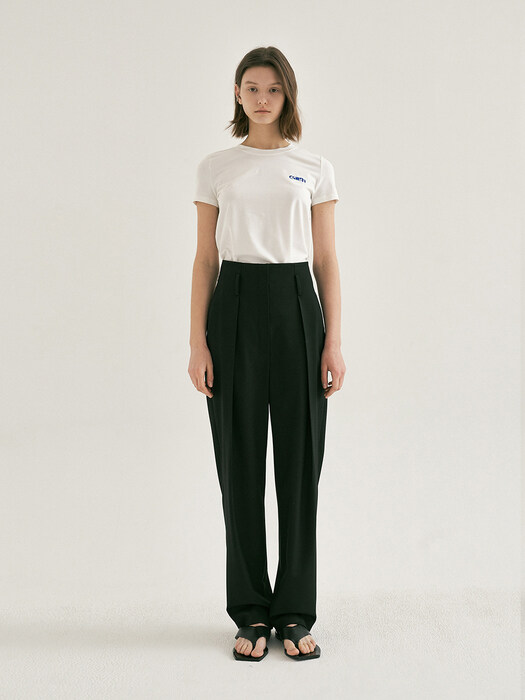HIGH-WAISTED TUCK PANTS (Black)