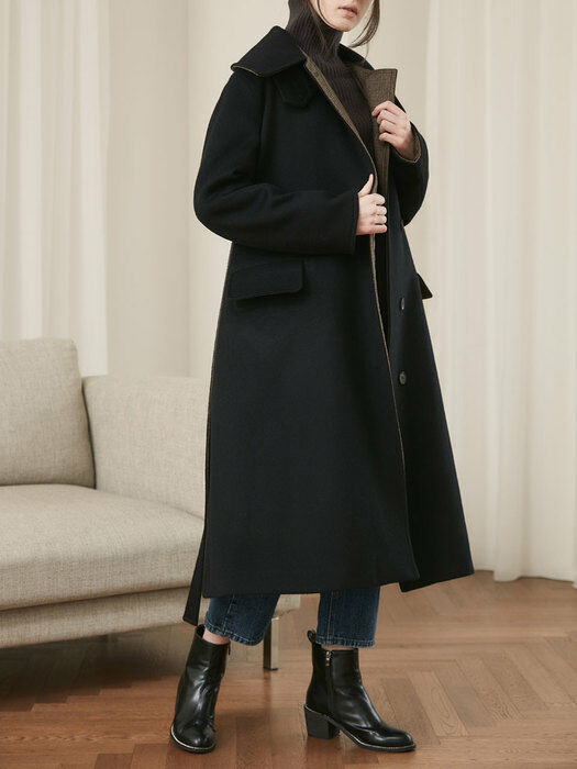20' Winter_Black A-Line Belted Wool Coat