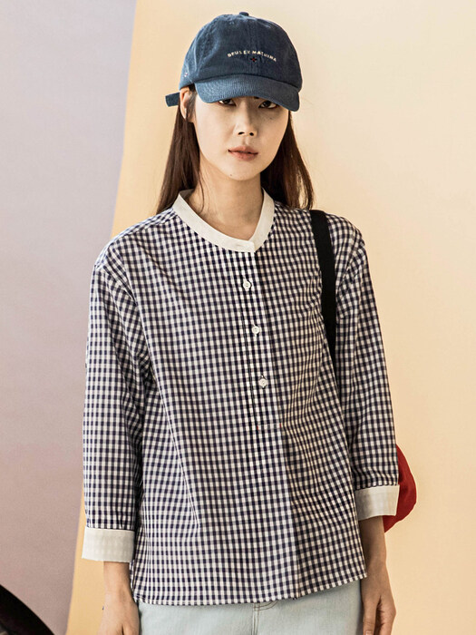 Gingham Check Navy Blouse