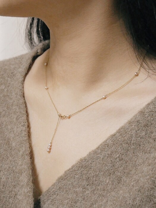 Y PEARL 14K GOLDFILLED NECKLACE