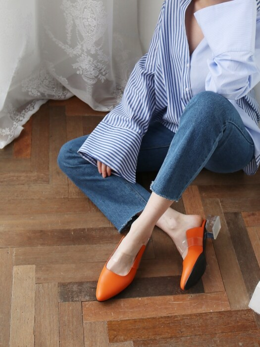 T016 clear mule orange (4cm)