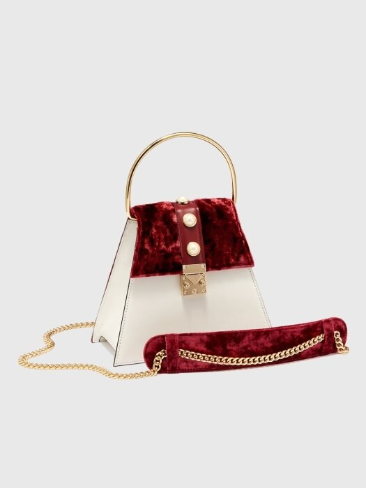 SQUARE MINI in Velvet and Leather (WINE Velvet)