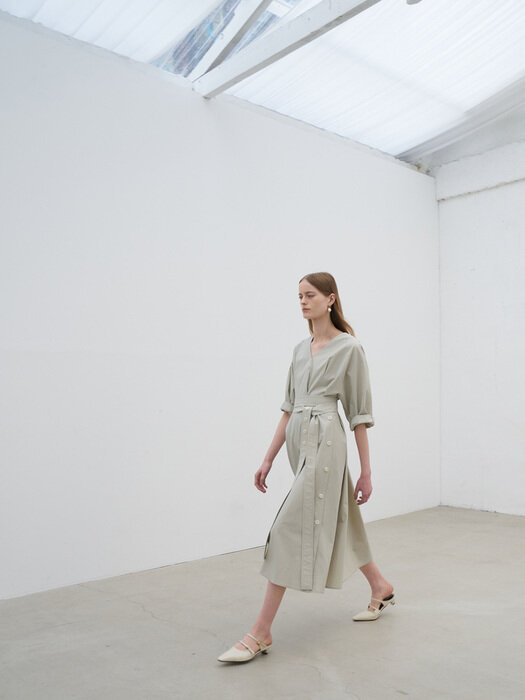 21' Summer_ Green Cotton Belted Dress