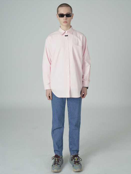 Neck cursor point shirt-pink