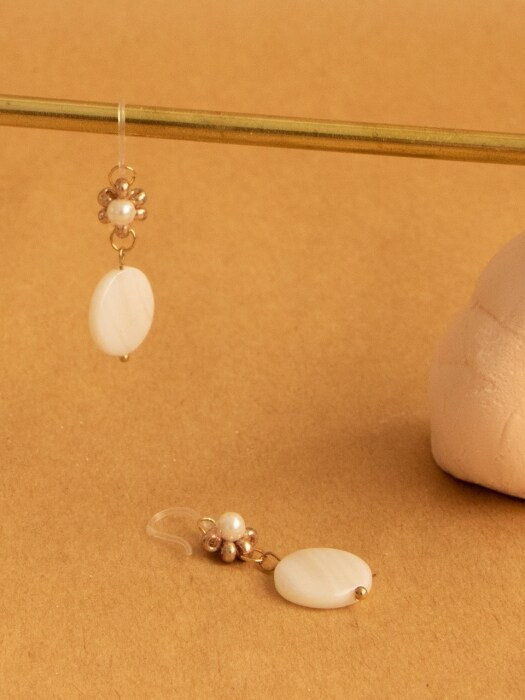 white almond earrings
