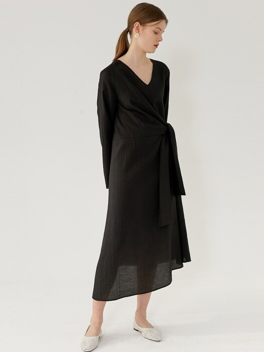 RAINA Knotted-Detailed Dress(BLACK)