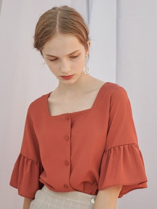 SQUARE SHIRRING BLOUSE ORANGE