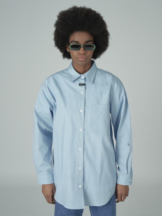 Neck cursor point shirt-lightblue
