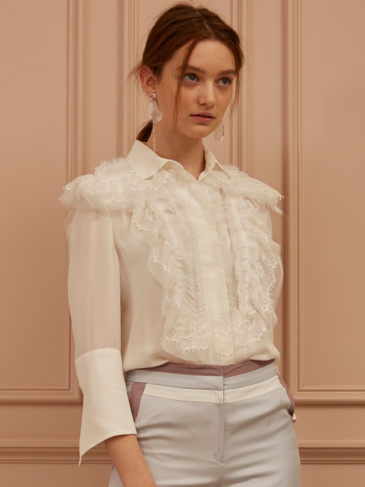Lace-Embellished Blouse