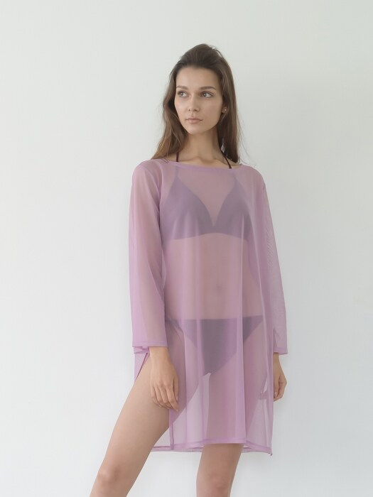 Pink Mesh Slit Long Cover-up