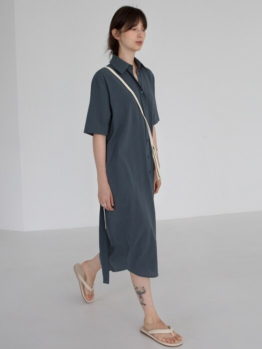 BELTED SHIRT DRESS - DEEP BLUE