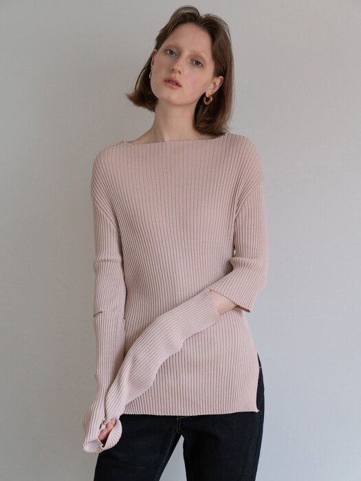 19FW CUT-OUT DETAIL KNIT TOP (PINK BEIGE)