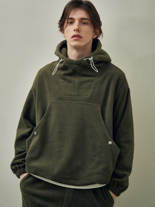 Fleece Over Size String Hoodie_Khaki