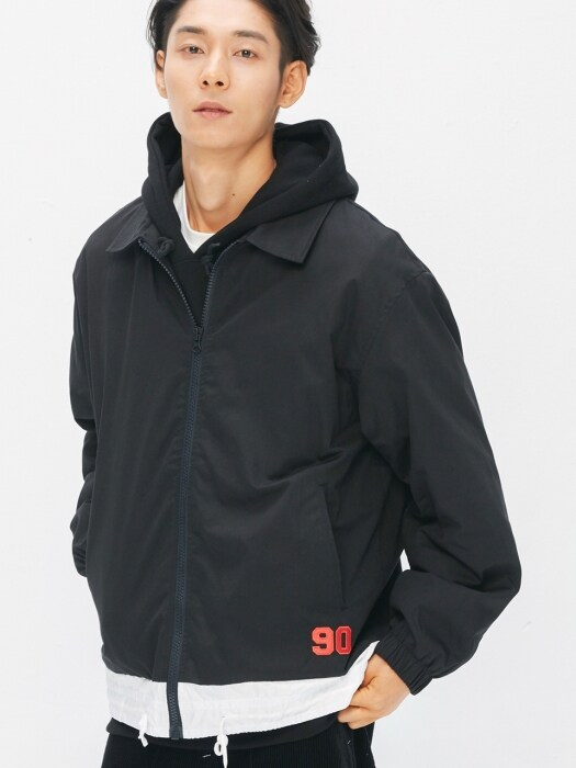 90's Draw-String Coach Jacket (black)