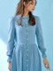 Puff sleeve denim shirt dress