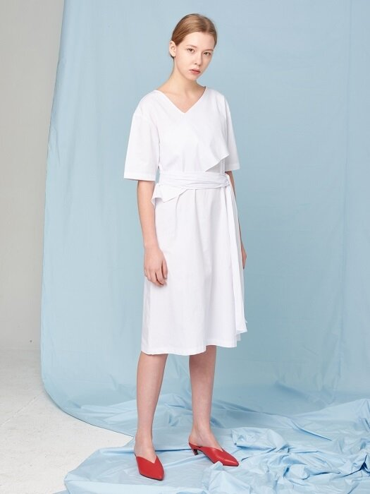 BELTED COTTON DRESS WHITE