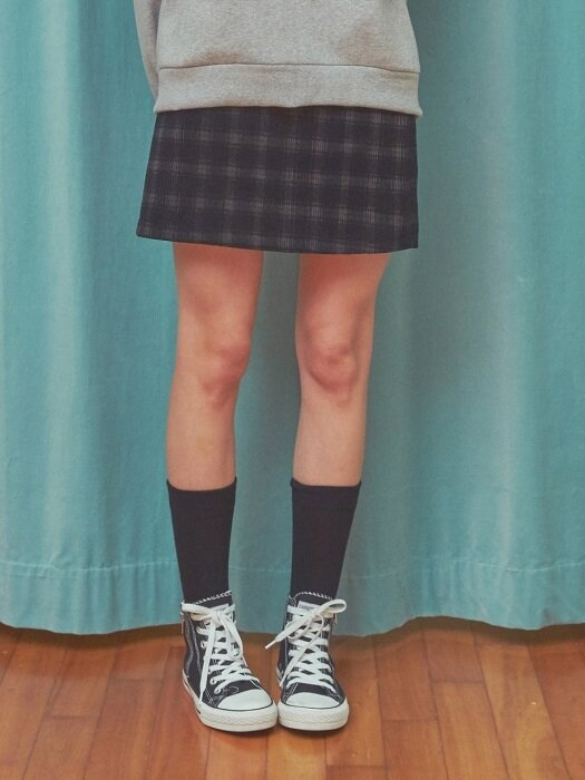 CORDUROY CHECK SKIRT BK