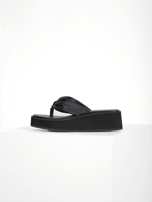 SHIRRING FLIP-FLOP - BLACK