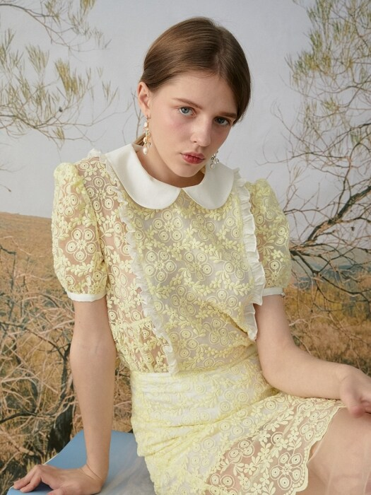 Flowers embroidery collar blouse (Yellow)