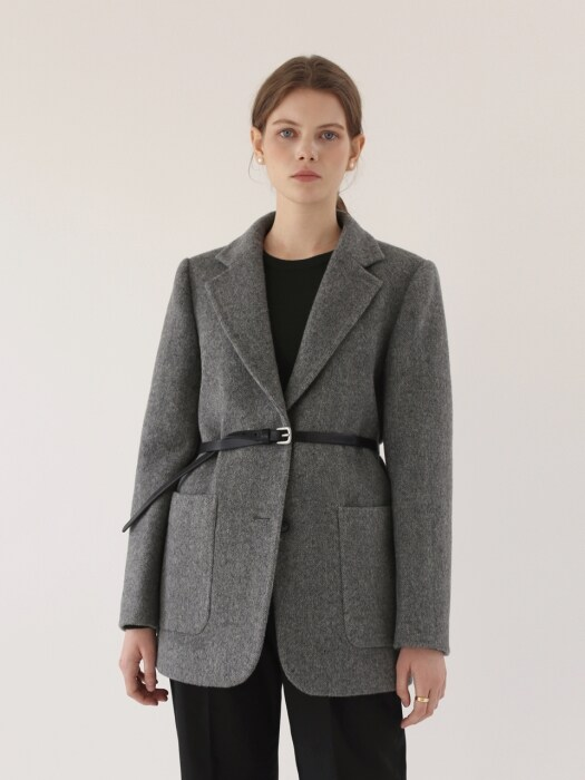 Herringbone Winter Jacket - Grey