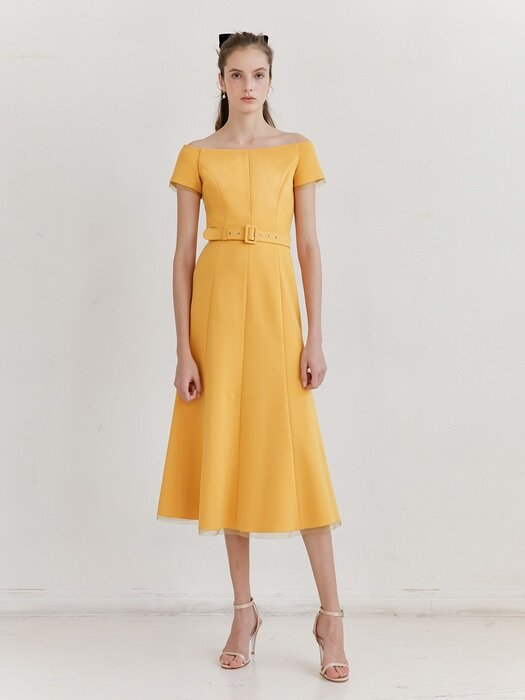 BRIANA Off shoulder short-sleeve formal dress (Mandarin Yellow)