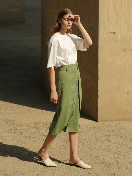 18RESORT LINEN BUTTON SKIRT_2COLOR