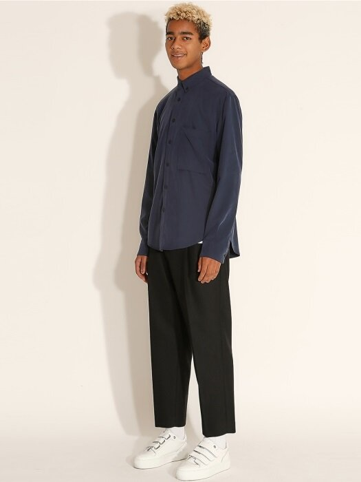 Low Pocket Loose Fit Shirts_Navy