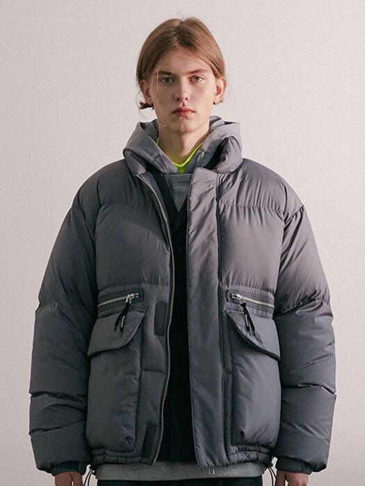 ZIPPER DOWN JACKET IA GREY