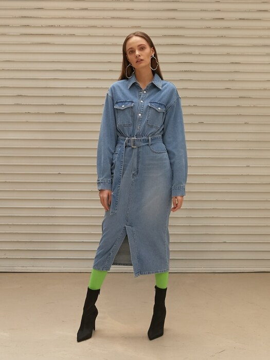 SHIRTS STYLE DENIM LONG DRESS