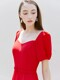 GISELLE Sweetheart square neck short puff-sleeve dress (Red)