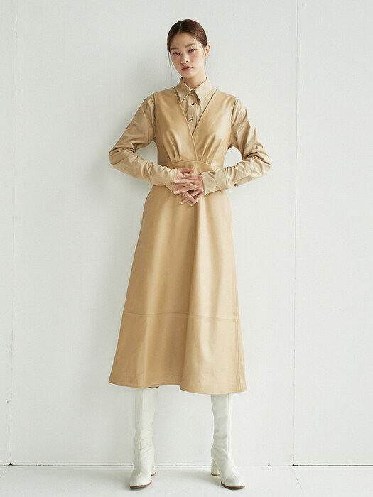 GWANGHWAMUN V-neck leather dress (Sand brown)