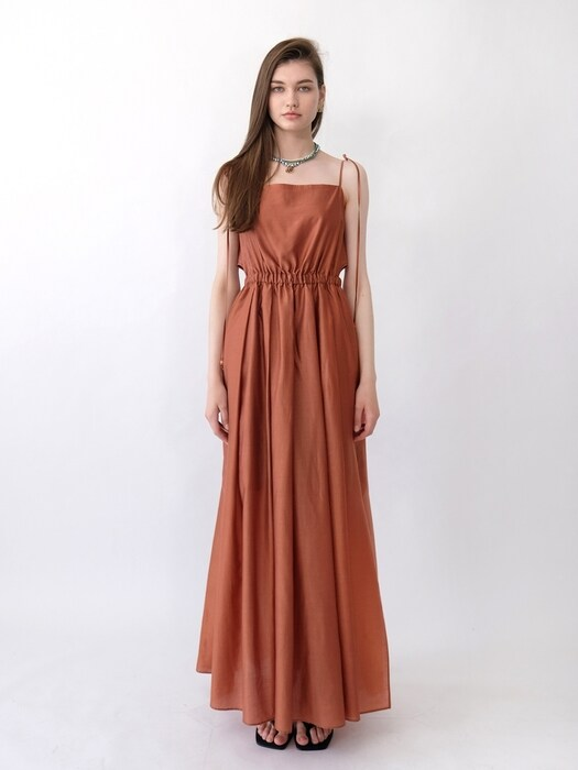 MAXINE CUTOUT MAXI DRESS_BRICK