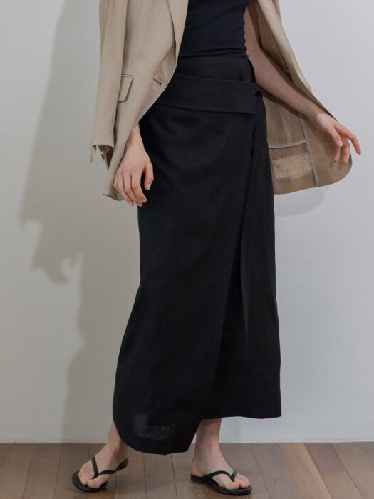 Linen Long Wrap Skirt_BK