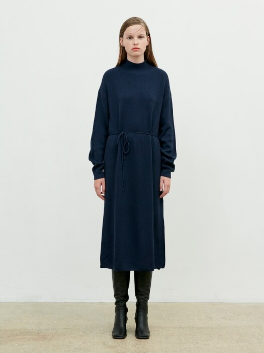 Half Turtleneck Dress Knit [Navy]