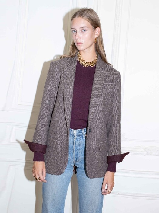 PARIS oversized blazer_Choco twill check & burgundy