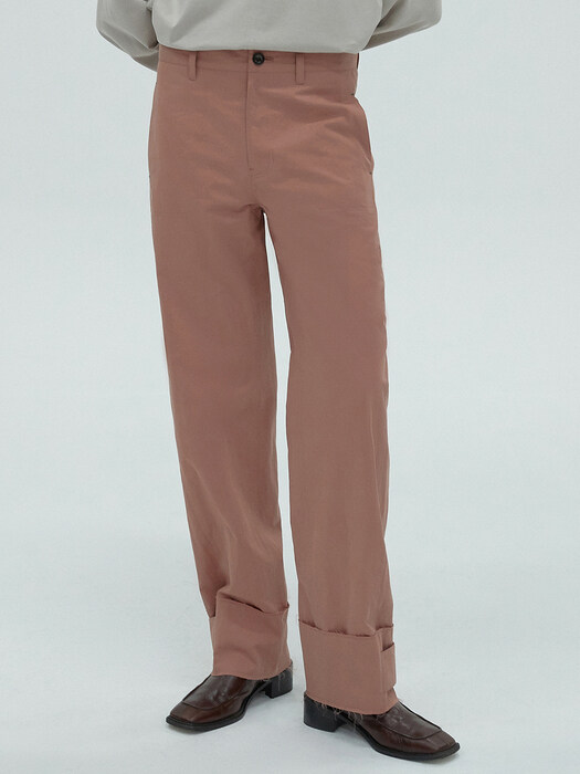 BUTTON UP STRAIGHT PANTS - PINK