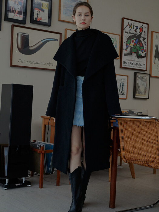 Audrey Shawl Collar Belted Wool Coat_2Colors