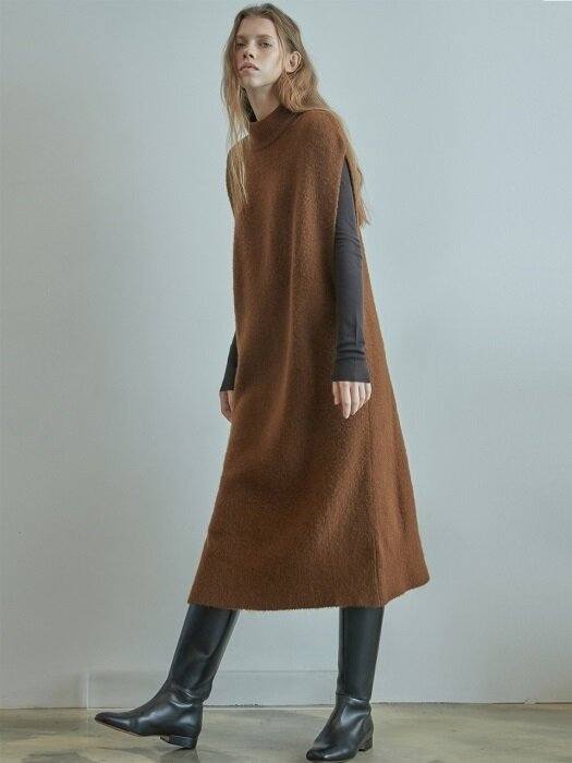 KT84003_LONG VEST DRESS_BROWN