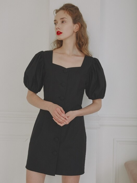 Alice Heart Neck Mini Dress_Black